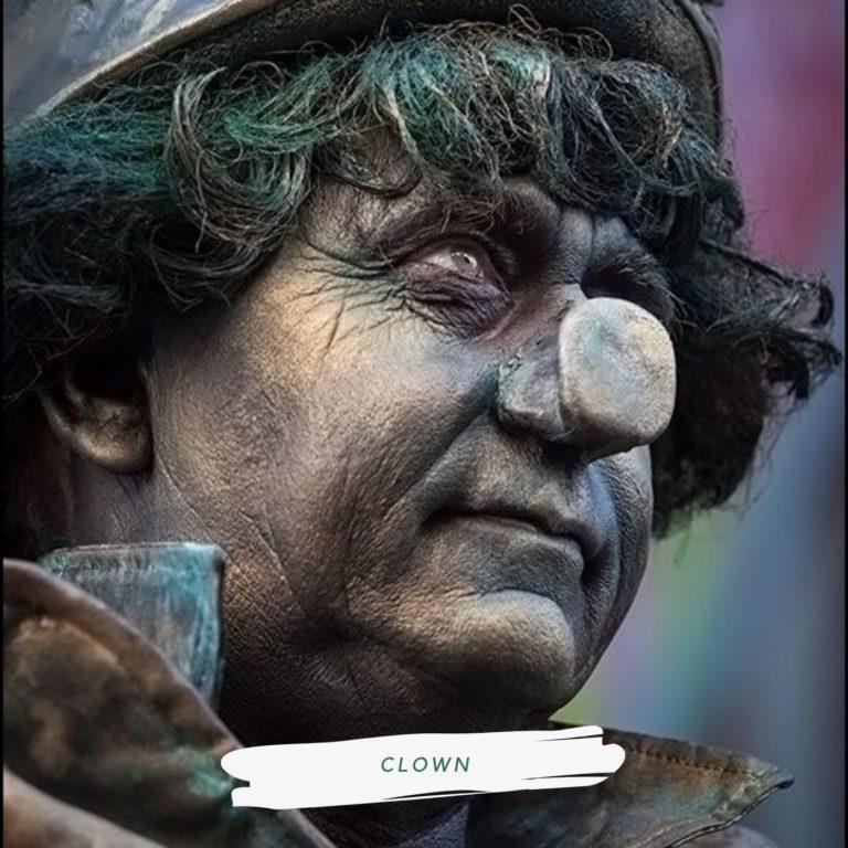 levend standbeeld clown